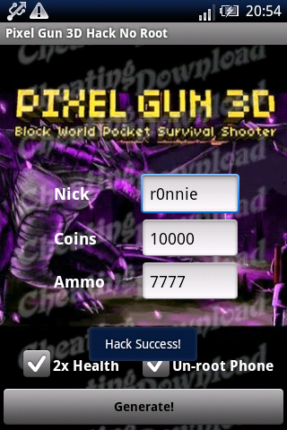 Pixel Gun 3D hack tool for Android